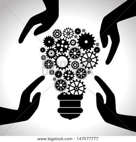 efficiency icons hands gears design isolated vector illustration eps 10
