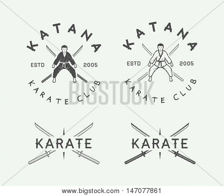 Set of vintage karate or martial arts logo emblem badge label and design elements in retro style. Vector Illustration. Graphic Art.