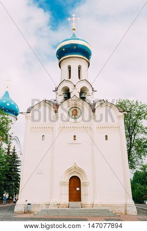 Church in honor of the Descent of the Holy Spirit . Dukhovskaya Church - the second stone church of the monastery, built in 1476-1477 years. Trinity Sergius Lavra, Sergiev Posad, Russia.
