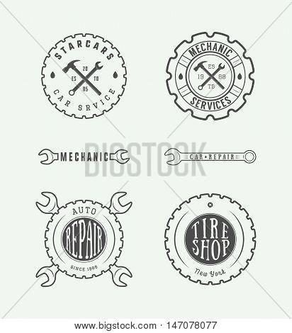 Vintage mechanic label emblem and logo. Vector illustration. Graphic Art.