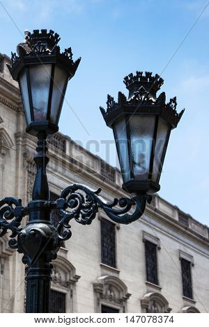 beautiful old street lamp in city