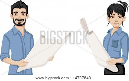Cartoon young architects holding blueprint.