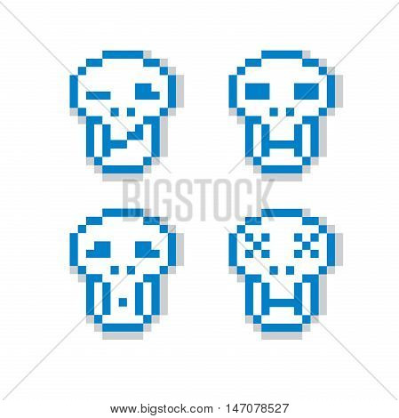 Vector pixel icons isolated collection of 8bit graphic elements. Simplistic digital signs human skulls.