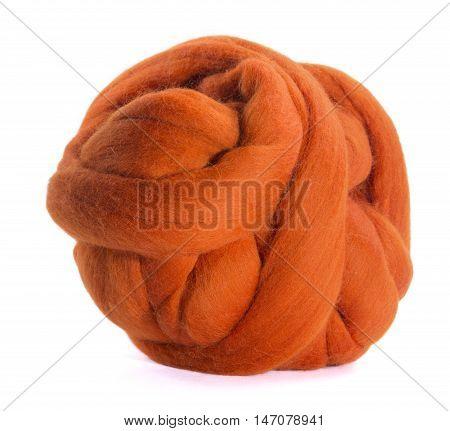 Hank merino wool orange on a white background