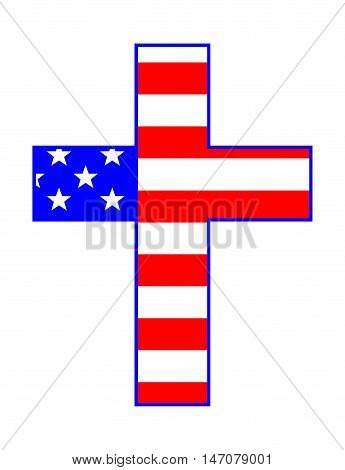 The 'Stars and Stripes' flag of the United States of America under a cross