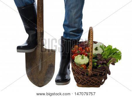 basket of vegetables standing near a farmer's feet