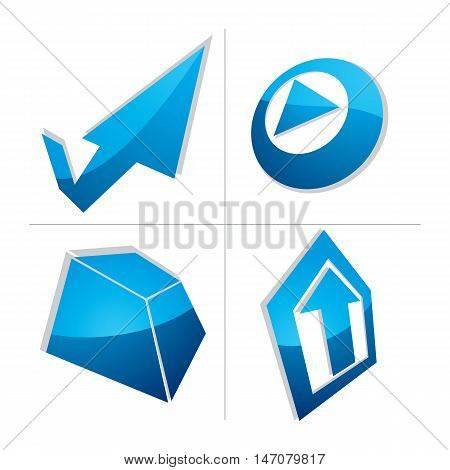 Set Of Three-dimensional Abstract Icons, Play Sign, Special Arrow And Checkmark. 3D Vector Push Butt