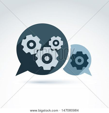Vector illustration of gears, enterprise system theme organization strategy concept.