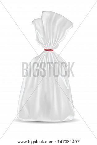 White blank foil or paper packaging isolated on white background. Sachet for bread coffee sweets cookies and gift.