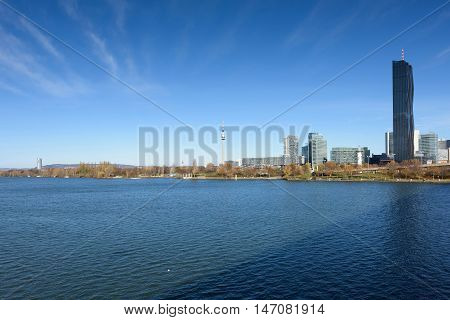 View on financial district with danube river in Vienna, Austria