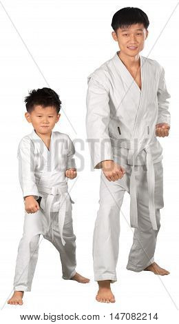 Portrait of a Martial Arts Instructor with Kid