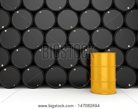 3D Rendering Black Barrels And Yellow