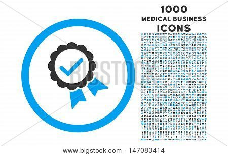 Approved rounded vector bicolor icon with 1000 medical business icons. Set style is flat pictograms, blue and gray colors, white background.