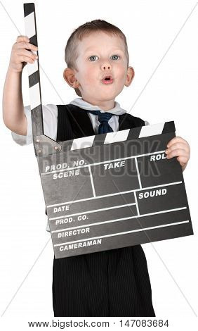 Little Boy Holding Movie Clapper Board - Isolated