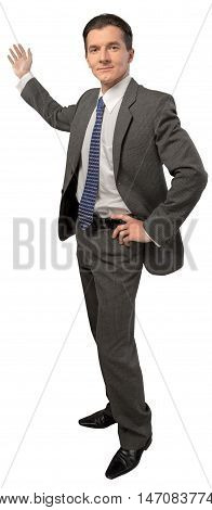 Confident Businessman Presenting Something in the Back, Isolated
