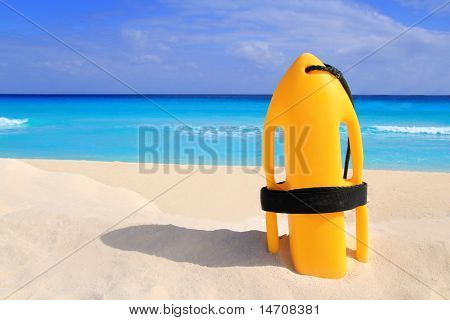 Baywatch Rescue Buoy Yellow On Tropical Beach