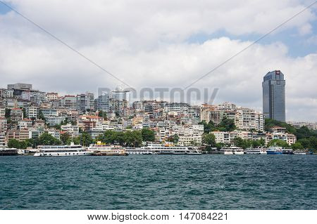 ISTANBUL TURKEY - JUNE 25 2015: Panoramic view of european part of Istanbul and Golden Horn Turkey