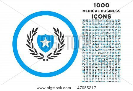 Glory Shield rounded vector bicolor icon with 1000 medical business icons. Set style is flat pictograms, blue and gray colors, white background.