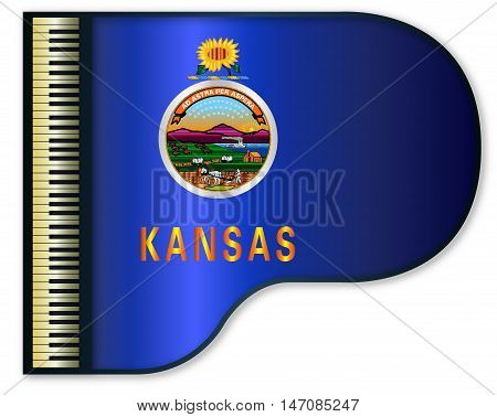 The Kansas state flag set into a traditional black grand piano