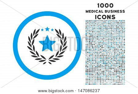 Proud Emblem rounded vector bicolor icon with 1000 medical business icons. Set style is flat pictograms, blue and gray colors, white background.