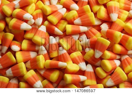Halloween candy corns background on close up