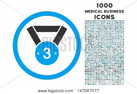 Third Medal rounded vector bicolor icon with 1000 medical business icons. Set style is flat pictograms, blue and gray colors, white background.