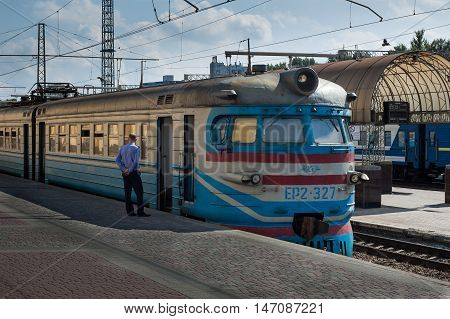 Kharkiv, Ukraine - August 15, 2016: Boarding the train at Railway Station.
