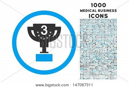 Third Prize rounded vector bicolor icon with 1000 medical business icons. Set style is flat pictograms, blue and gray colors, white background.