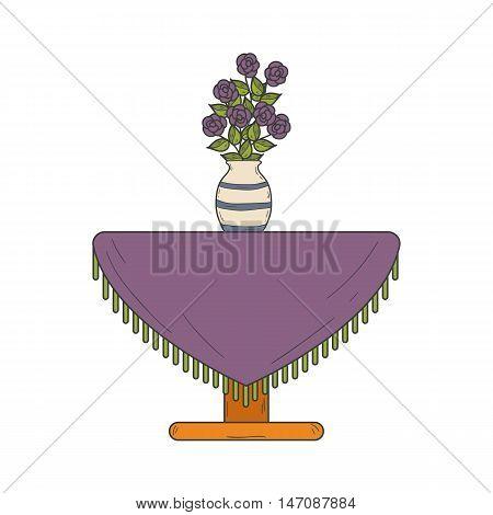Vector illustration with cartoon hand drawn houseplant on table. Cartoon house plant interior design. Vector flower. Hand drawn background. Flower shop logo emblem background concept