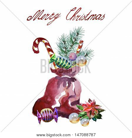 Santa's sack with gifts. Holidays card for print