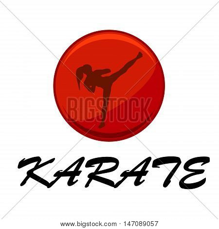 young woman doing karate over white background