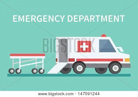 Ambulance car and stretcher. Transport emergency medicine vector icon