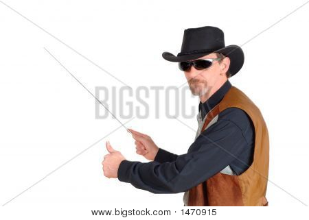 Texas Businessman Pointing To Chart