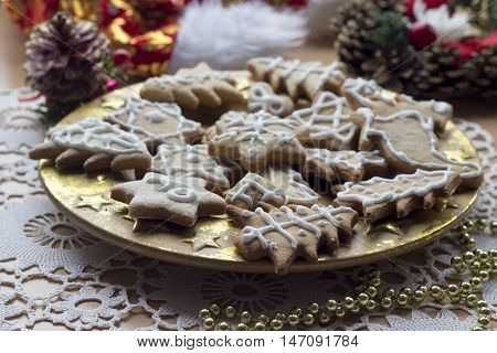 Homemade new year cookies on solemn decorated table