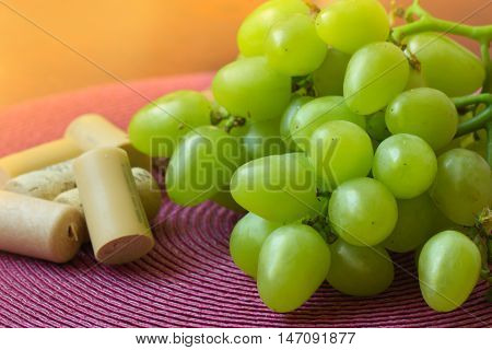 grape and corks on a table. bunch of white grapes and corks from wine bottles