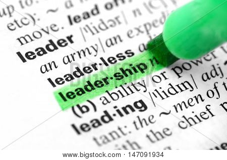 Close Up of Highlighting Specific Word Leadership in a Dictionary