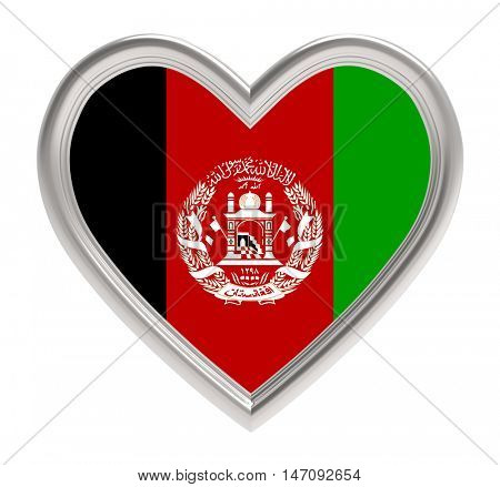 Afghan flag in silver heart isolated on white background. 3D illustration.