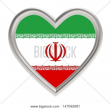 Iranian flag in silver heart isolated on white background. 3D illustration.