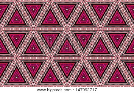 Abstract Triangles Handcrafted Etno Style Fabric Ornaments Background