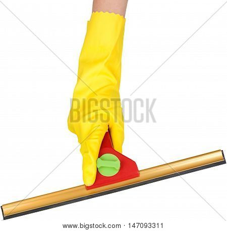 hand doing chores while wearing rubber gloves