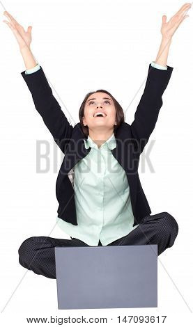 Celebrating Businesswoman Sitting on Groun Cross- Legged with Laptop - Isolated