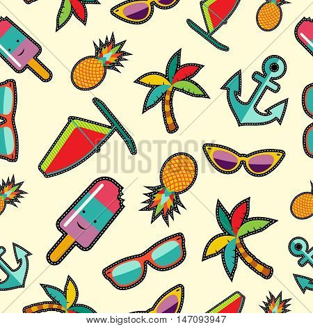 Seamless Pattern With Cartoon Summer Designs