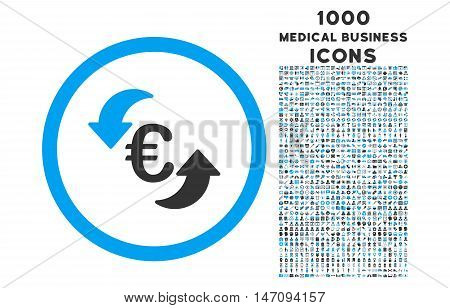 Update Euro rounded vector bicolor icon with 1000 medical business icons. Set style is flat pictograms, blue and gray colors, white background.