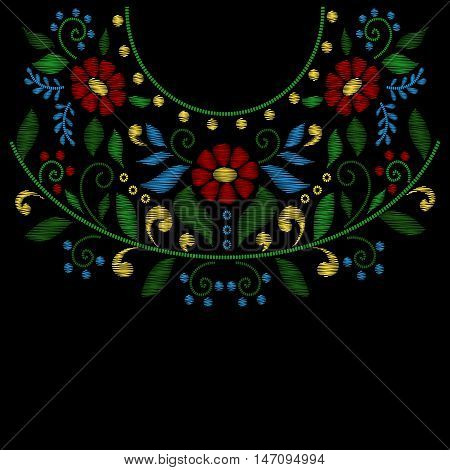 Flower neck embroidery line designs vector. Embroidery fashion style and decoration embroidery with flowers illustration
