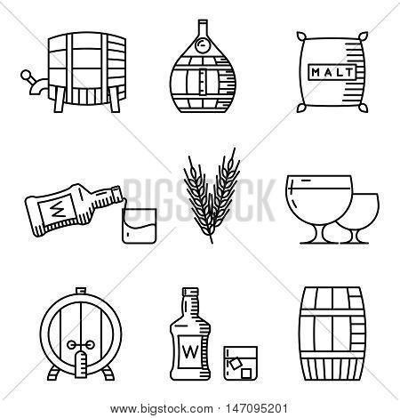Whisky thin line icons. Whisky industry outline vector signs. Alcohol drink beverage illustration