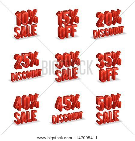 Promotional discount signs with percent off on white background. Discount to consumerism, icon with discount advertisement, vector illustration
