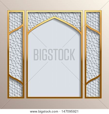 Islamic greeting card. Golden frame with 3D background with different girih patterns. Greeting card template for Ramadan Eid al Fitr-festival of breaking of the fast Eid al-Adha-festival of sacrifice