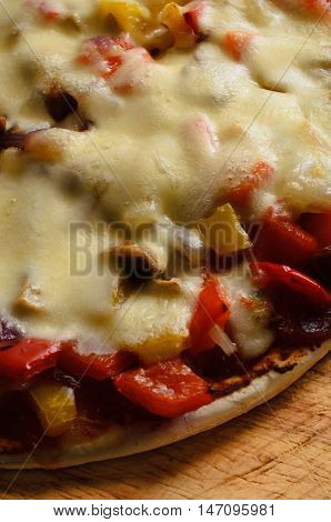 Cheese And Vegetable Pizza - Elevated Close Up