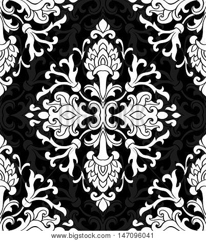 Oriental abstract ornament. Templates for carpet textile wallpaper. Seamless white floral pattern on a black background.