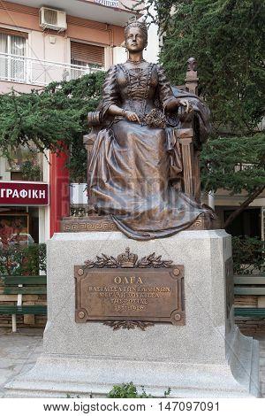 Thessaloniki, Greece – September 13 2016: Olga Constantinovna Of Russia Statue.